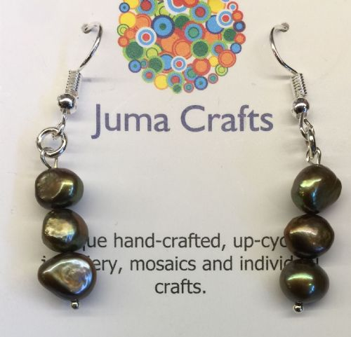 Freshwater Pearl Green & Bronze Earrings